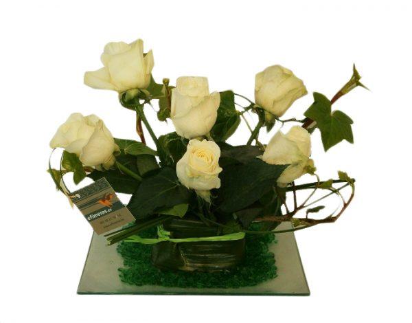 Centro de rosas blancaspara regalar,compra online