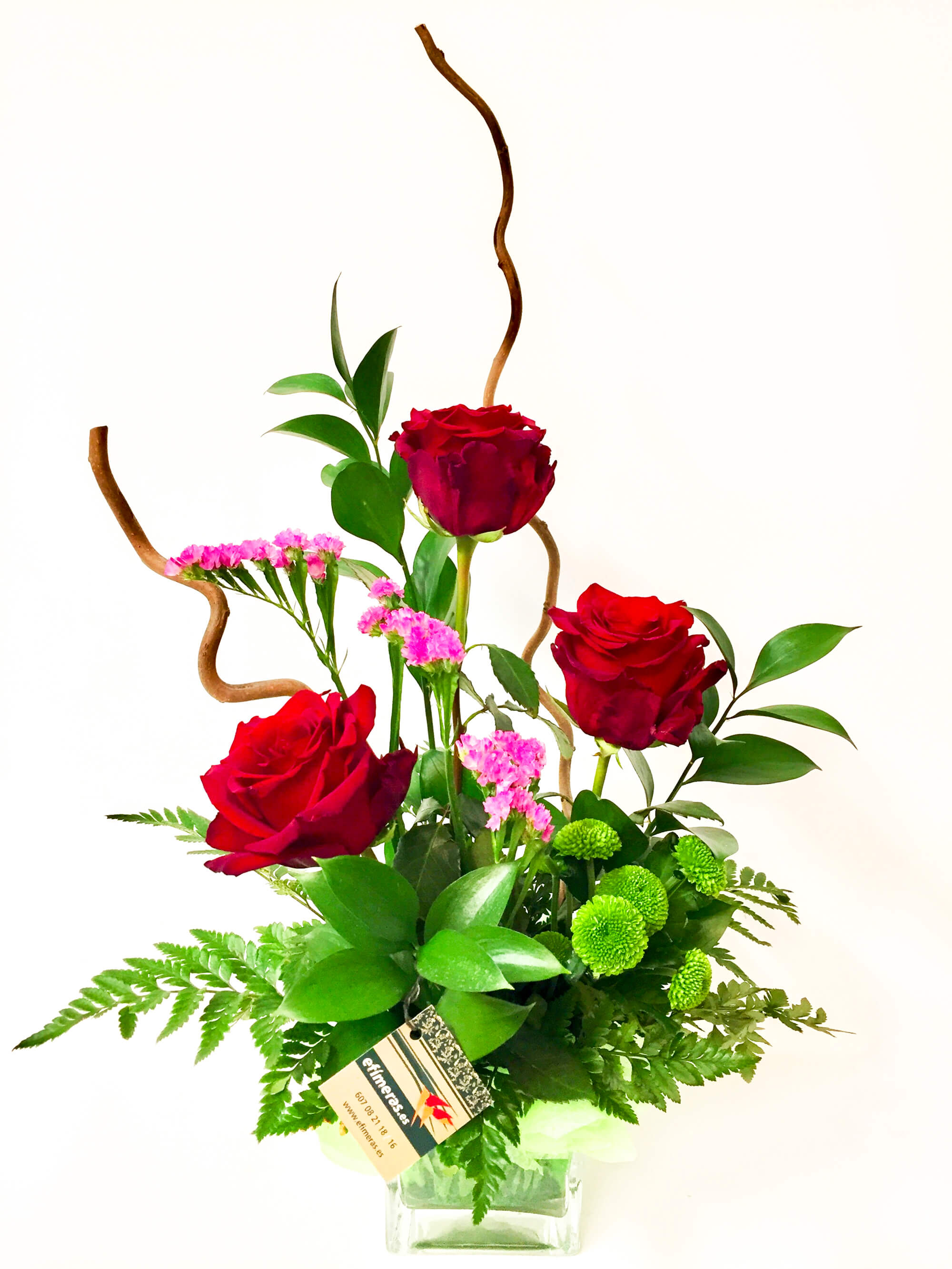 Detalle floral de tres rosas, enviar tres rosas a domicilio, detalles de san valentin