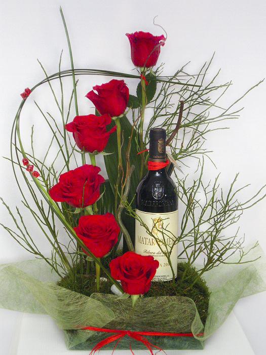 enviar vino y rosas a domicilio en Madrid, Envío de rosas y vino por san valentin en madrid