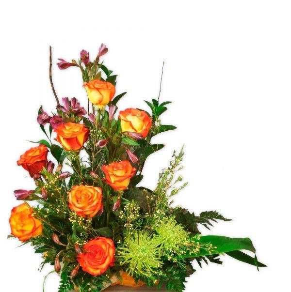 Eden, centro con rosas de colores para enviar en mADRID