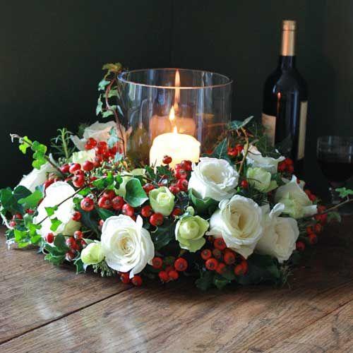 Decoracion con flores en casa en navidad