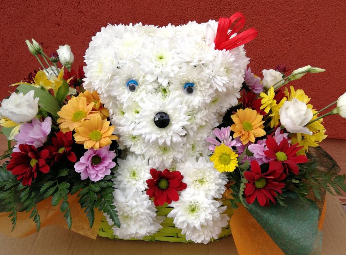 centro de flores con forma de perro